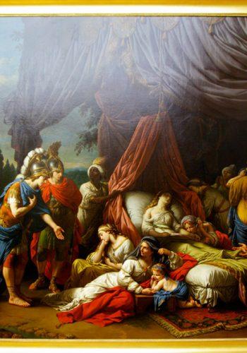 Louis LAGRENEE, dit l'Aîné - Paris1 1725 - 1805. Alexandre interrompt ses expéditions militaires pour se recueillir devant le corps de la femme de Darius et consoler sa famille éplorée. Dans ce tableau peint pour Louis XVI, l'artiste s'est inspiré de l'Histoire ancienne de Rollin et de la série des Triomphes d'Alexandre de Le Brun