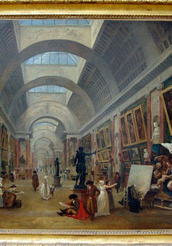 Hubert ROBERT - Paris, 1733-1808, Projet d'aménagement de la Grande Galerie du Louvre. 1796. Nommé en 1784 Garde du Muséum (le Louvre), l'artiste a laissé de nombreuses vues, réelles ou inventées, du musée en cours d'amménagement. Il a imaginé la Grande Gallerie telle qu'on la découvre aujourd'hui, avec sa segmentation en travée et son éclairage zénithal.
