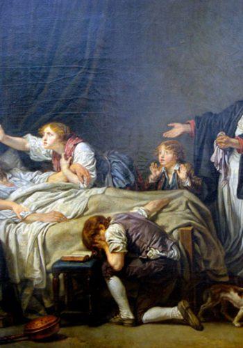 """Jean-Baptiste GREUZE - Tournus, 1725 - Paris, 1805. Le Fils puni. 1778. Second épisode de la malédiction paternelle, le fils retourne auprès des siens, au moment de la mort du père. Ces deux """"chefs d'oeuvre du pathétique sublime"""" (Paillet, 1785) où Greuze tente de retrouver la rigueur d'un Poussin, haussent la peinture de genre à la dignité du """"grand gout""""."""