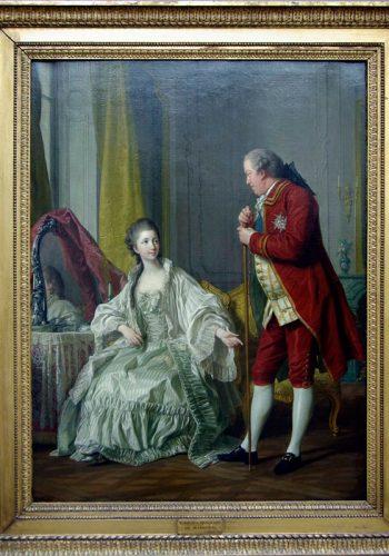Louis-Michel VAN LOO. Toulon, 1707 - Paris 1771. Portrait du Marquis et sa femme. 1769. Frère cadet de la marquise de Pompadour, Marigny (1721-1781) fut le directeur des Bâtiments de Louis XV et 1751 à 1773. Il est représenté avec sa jeune épouse de dix-huit ans, née Julie Filleul (1751-1882), deux années après leur mariage.