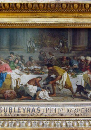 Pierre SUBLEYRAS - Le repas chez Simon - 1737, Tableau comandé par les chanoines du Latran pour leur couvent d'Asti.