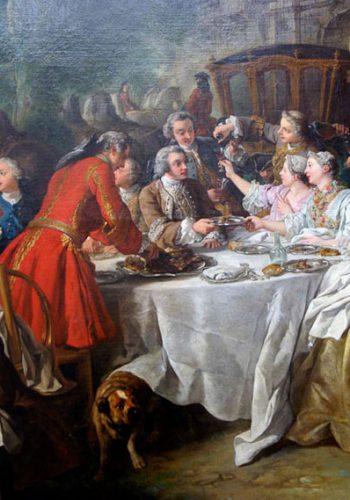 Jean-François de TROY. Paris, 1769 - Rome, 1752. Un déjeuner de chasse, 1737. Comme son pendant, la mort d'un cerf (disparu), cette oeuvre qui reflète le bonheur de vivre d'une société mondaine a été peint pour la salle à manger des petis appartements du roi de Fontainebleau où il voisinait avec la Halte de chasse de C. Vannloo et la Halte de Grenadiers de la Maison du roi de Charles Parrocel (Louvre).
