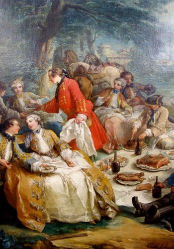 Charles-André, dit Carle VANLOO. Nice, 1705 - Paris, 1765. Halte de chasse, 1737. Ce tableau galant, au cadre inspiré des paysagistes flamands de XVII siècle, a été peint pour la salle à manger des petis appartements de Louis XV à Fontainebleau. La légende voudrait y reconnaître le roi, entouré des trois soeurs de Nesle, qui furent ses maîtresses.