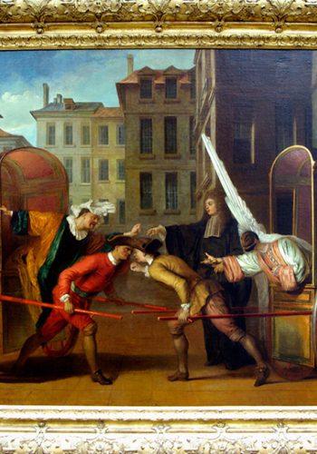 Claude GILLOT. Langres, 1673 - Paris, 1722. Les deux carrosses. Vers 1707. Le théâtre de foire et la Commedia dell'arte furent l'un des thèmes favoris de Gillot. Inspiré d'un fait divers, cette scène humoristique fut ajouté à la pièce de Regnard et Dufresny, La foire Saint-Germain, créée en 1695. Scaramouche et Arlequin, déguisés, s'apostrophent avec une véhémence caricaturele.
