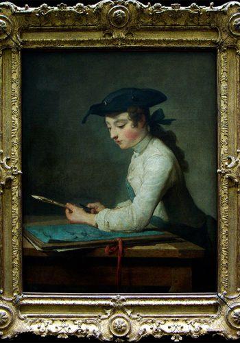 Jean-Siméon CHARDIN.Paris, 1699 - Paris, 1779. Le Jeune déssinateur 1737. Ce tableau fut exposé au salon de 1738, avec pour pendant une jeune ouvrière en tapisserie (disparu). Le jeune garçon évoque les figures immobiles et graves de Vermeer à qui on a souvent comparé Chardin, notamment dans ses recherches de matière.