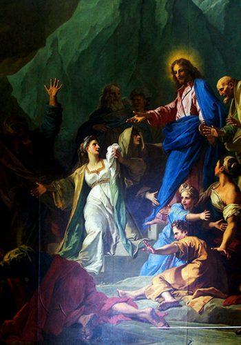"""Jean JOUVENET. Rouen, 1644 - Paris, 1717. La Réssurrection de Lazare, 1706. Le sujet est raconté dans l'Evangile selon saint Jean (II,38-44): Marthe et Marie, les deux souers de Lazare mort depuis quatre jours, étaient venues se prosterner devant le Christ. Amené devant de sépulcre, celui-ci cria d'une voix forte: """"Lazare, sours!"""", et le mort se leva, les pieds et les mains liés et le visage couvert d'un suaire."""