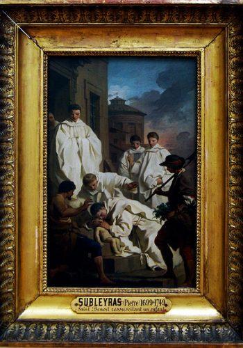 Pierre SUBEYRAS. Saint-Gilles du Gard, 1699 - Rome, 1749. Saint Benoît ressuscite un enfant. Vers 1744. Cette esquisse et son pendant, l'absolution de Théodose, sont les études pour deux tableaux d'autel (aujourd'hui à Rome, église Sainte- Françoise-Romaine et musée de Pérouse) peints pour l'église des Olivétains de Pérouse.