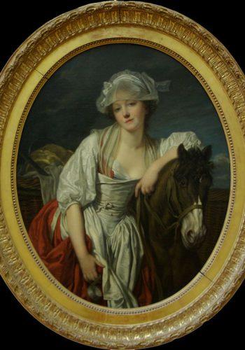 Jean Baptiste GUEUZE - La Laitière - Tournus,1725 - Paris 1805. Ce tableau illustre un des thèmes les plus prisés des contemporains de l'artiste, celui des jeunes filles languides, oscillant entre pudeur et sensualité.