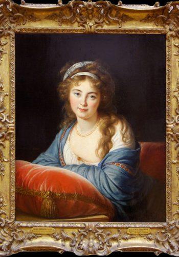 Elisabeth-Louise VIGEE-LE BRUN. Paris, 1755 - Paris, 1842. LA comtesse Skavronskaia, 1796. L'artiste fuyant la Révolution en 1789, voyagea alors en Europe. Elle sejourna en Russie de 1795 à 1801, peignant les nobles de Saint-Pétesbourg, dont cette comtesse, dame d'honneur de Catherine II nièce et maîtresse de potemkine.