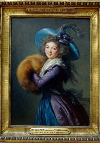 Elisabeth-Louise VIGEE-LE-BRUN. Paris, 1755 - Paris, 1842. Madame Molé-Raymond, 1786. Cette image d'une actrice de la Comédie italienne ilustre la virtuosité de l'artiste dans le rendu des matières (les étoffes, le manchon). Ses portraits élégants furent prisés par la haute société européenne et la désignèrent en 1779 comme peintre de Marie-Antoinette.
