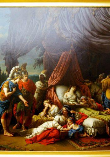 Louis LAGRENEE, dit l'Aîné - Paris1 1725 - 1805. Alexandre interrompt ses expéditions militaires pour se recueillir devant le corps de la femme de Darius et consoler sa famille éplorée. Dans ce tableau peint pour Louis XVI, l'artiste s'est inspiré de l'Histoire ancienne de Rollin et de la série des Triomphes d'Alexandre de Le Brun.