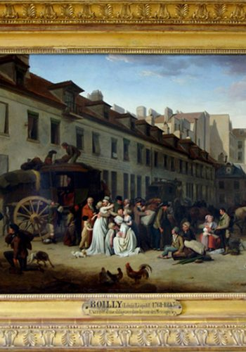 Louis-Léopild BOILLY. La Bassée (Nord), 1761 - Paris, 1845. L'arrivé d'une diligence dans la cours des Messageries, 1803.