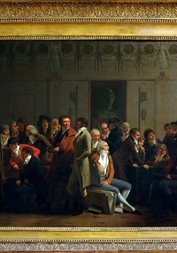 Luis-Léopold BOILLY. La Bassée (Nord), 1761 - Paris, 1845. Réunion d'artistes dans l'atelier d'Isabey, Salon 1798.