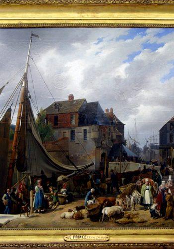 """Anne-Xavier LEPRINCE. Paris, 1799 - Nice, 1826. Embarquement de bestiaux sur le """"Passager"""" dans le port de Honfleur, 1823."""