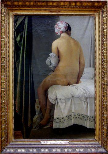 """ean-Auguste-Dominique. INGRES. Montauban, 1780 - Paris, 1867. La Baigneuse, dite Baigneuse Valpinçon, 1808. Connue sous le nom Valpinçon, un de ses anciens possesseurs, cette Baigneuse constitua, en 1808, l'""""envoi de Rome"""" à Paris de l'artiste, alors Pensionnaire à l'Académie de France. Elle marque, chez Ingres, le point de départ d'une fameuse série de nus féminins."""