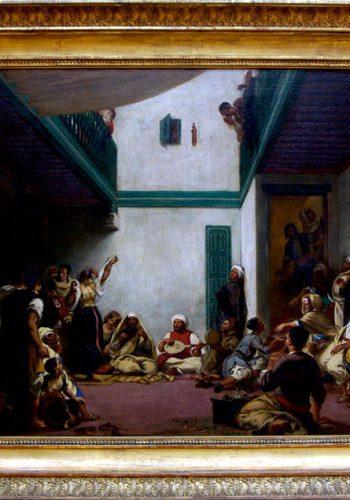 ugène DELACROIX. Charenton-Saint-Maurice, 1798 - Paris, 1863. Noce juive dans le Maroc, 1839? Le voyage réalisé par Delacroix en 1832 marqua profondément son art. A tanger, le 21 février, il assista à une noce juive, décrite avec précision dans son journal, et dont il se souvient ici. La mariée est enfermée dans ses appartements, tandis qu'on se réjouit dans le reste de la maison..